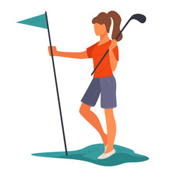 Golfer with pole and flag playing golf vector