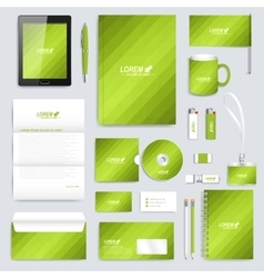 Green set of corporate identity template vector image