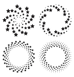 Halftone circles of stars twisted spiral vector image