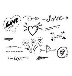 Hand drawn collection design element love vector