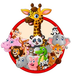 happy animal cartoon vector image