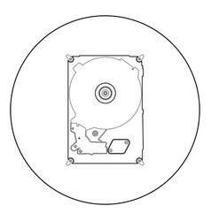 hard drive disk icon black color in circle vector image