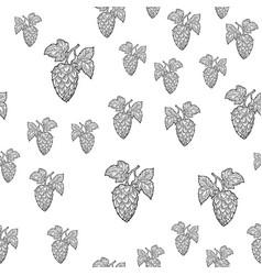 hop leaf seamless pattern sketch vector image