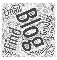 how to find email groups to promote your blog Word vector image