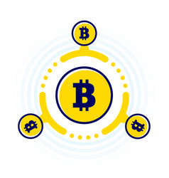 How work cryptocurrency network circular flat vector