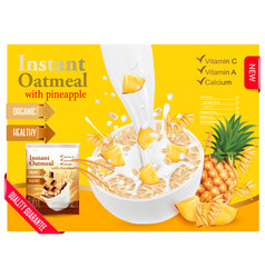 Instant oatmeal with berry advert concept milk vector