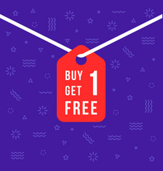 Label with buy 1 get one free text vector