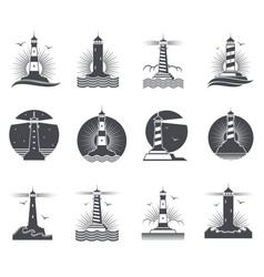 Lighthouse marine vintage labels vector