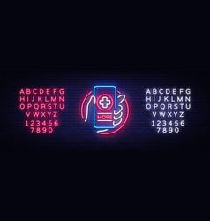 medical online neon sign design template vector image