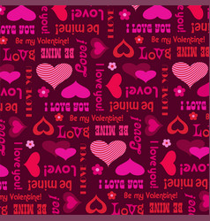 Mod valentines day pattern with hearts and type vector