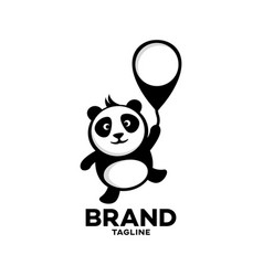 modern panda on a balloon logo vector image