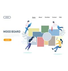 Mood board website landing page design vector
