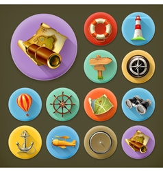 Navigation long shadow icon set vector image