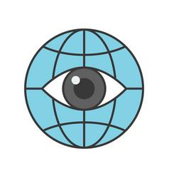 open eye on globe icon editable stroke outline vector image