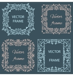 Ornamental floral frame linear style vector image