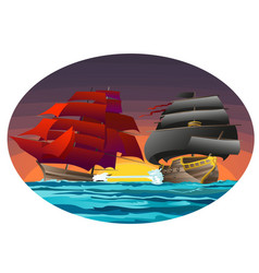 oval poster with two sea ships with red and black vector image