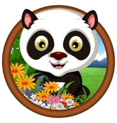 Panda cartoon in frame vector