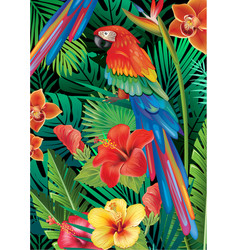 Parrot with tropical plants vector