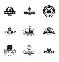piece of cake logo set simple style vector image