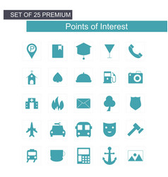 Point interest icons set vector