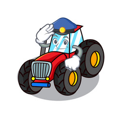 Police tractor character cartoon style vector