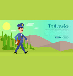 Post service web banner with postman vector