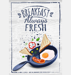 poster with plates of fried and scrambled eggs on vector image