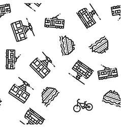 Public transport seamless pattern vector