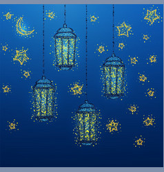 ramadan kareem greeting with golden lantern vector image