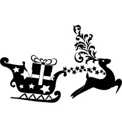 Reindeer and sleigh with presents vector image
