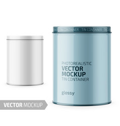 round glossy tin can template with sample design vector image