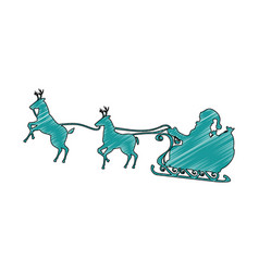 Santa carriage with reindeer flying vector