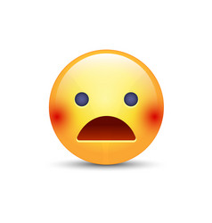 Scared face with open mouth frightened emoticon vector