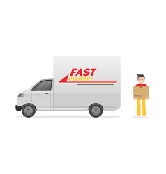 service delivery truck delivery man warehouse vector image