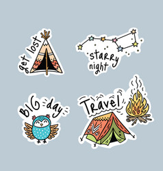 Set cartoon stickers patches or pins vector