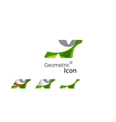 Set of abstract geometric company logo N letters vector image