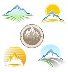 Set of mountains emblem vector