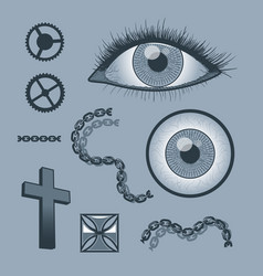 set of objects for tattoo graphics monochrome vector image