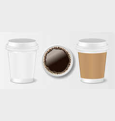 set realistic paper take-out coffee cup 3d vector image