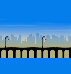 silhouette of bridge with city background vector image