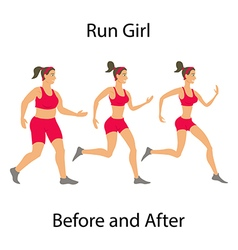 Simple cartoon woman jogging before and after run vector
