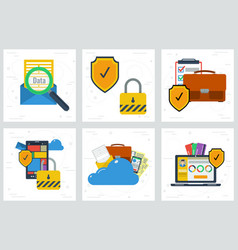 six concepts - data protection and encryption vector image vector image