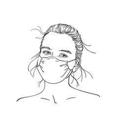 Sketch young teenage girl portrait in medical vector