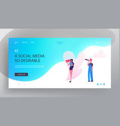 Social blog website landing page woman hold in vector