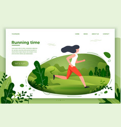 Sporty girl running in park vector