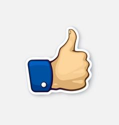Sticker thumb up symbol like vector