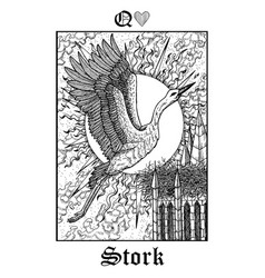 Stork tarot card from lenormand gothic mysteries vector