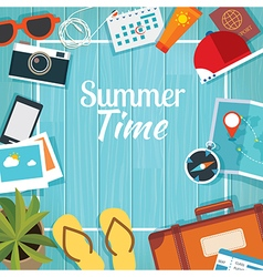 Summer traveling template with wooden background vector