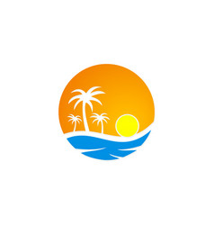 Sunset tropic palm tree beach travel logo vector