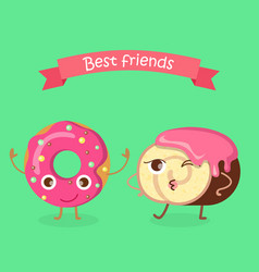 Sweets best friends doughnut and swiss roll vector